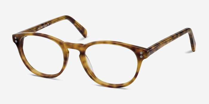 Split Tortoise Acetate Eyeglass Frames from EyeBuyDirect, Angle View