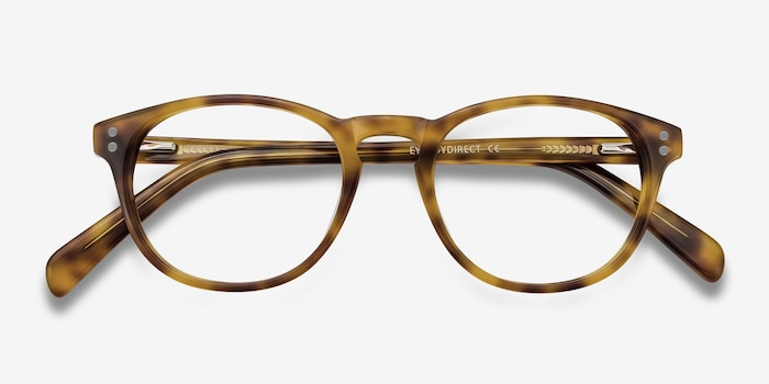 Split Tortoise Acetate Eyeglass Frames from EyeBuyDirect, Closed View