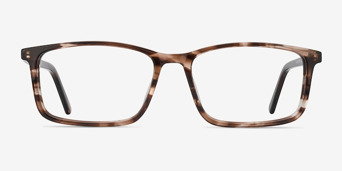 Crane Striped Acetate Eyeglass Frames from EyeBuyDirect, Front View