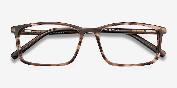 Crane Brown Striped Acetate Eyeglass Frames from EyeBuyDirect, Closed View