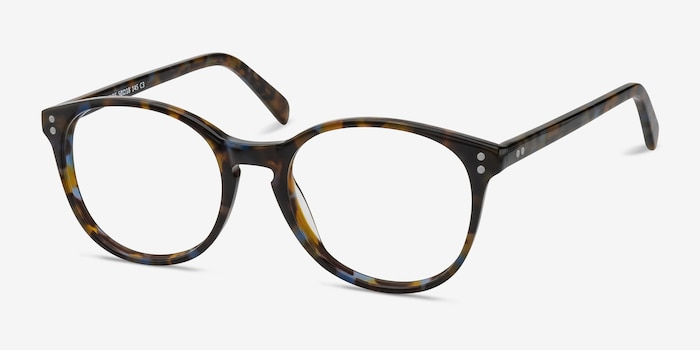Pride Brown Floral Acetate Eyeglass Frames from EyeBuyDirect, Angle View