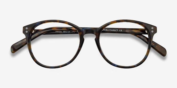 Pride Brown Floral Acetate Eyeglass Frames from EyeBuyDirect, Closed View