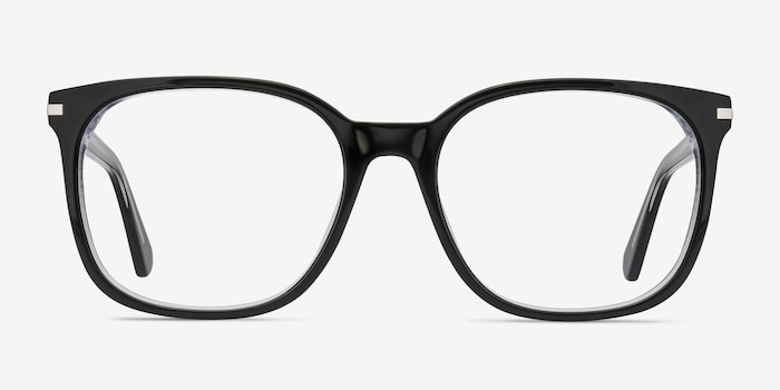 Absolutely Black Acetate Eyeglass Frames from EyeBuyDirect, Front View