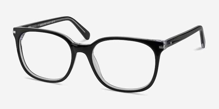 Absolutely Black Acetate Eyeglass Frames from EyeBuyDirect, Angle View