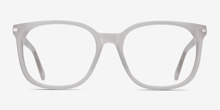 Absolutely White Acetate Eyeglass Frames from EyeBuyDirect, Front View
