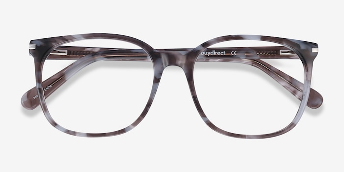 Absolutely Gray Floral Acetate Eyeglass Frames from EyeBuyDirect, Closed View