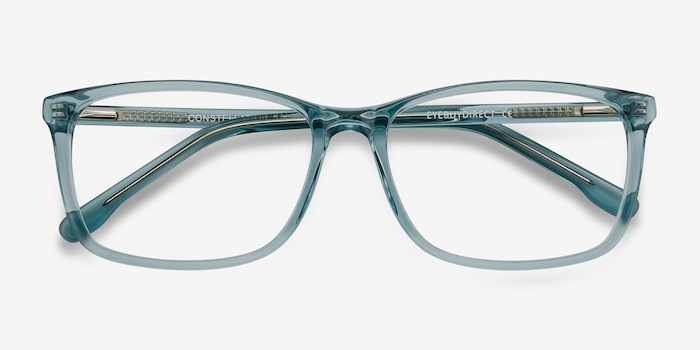 Constellation Clear Blue Acetate Eyeglass Frames from EyeBuyDirect, Closed View