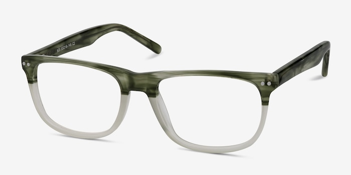 Koi Green Acetate Eyeglass Frames from EyeBuyDirect, Angle View