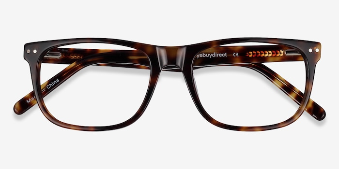 Koi Tortoise Acetate Eyeglass Frames from EyeBuyDirect, Closed View
