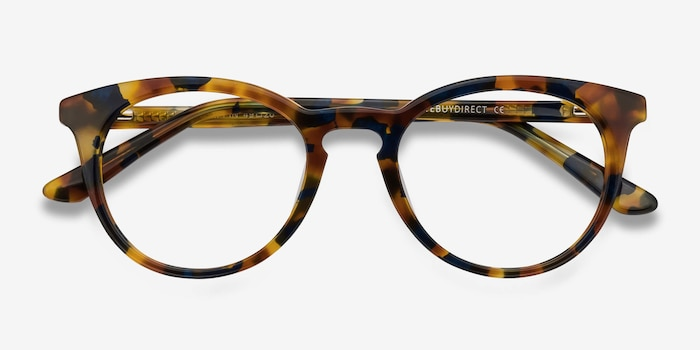 Griffin Amber & Navy Acetate Eyeglass Frames from EyeBuyDirect, Closed View