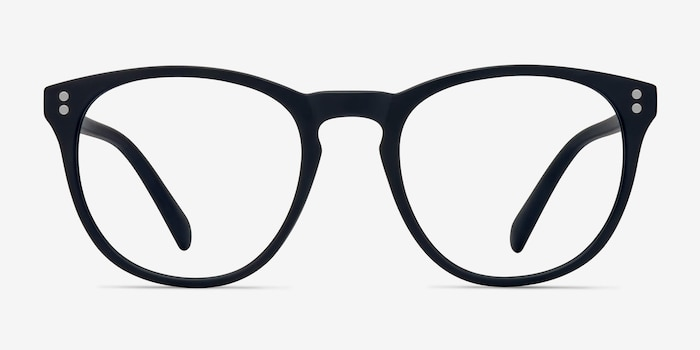 Legendary Navy Plastic Eyeglass Frames from EyeBuyDirect, Front View