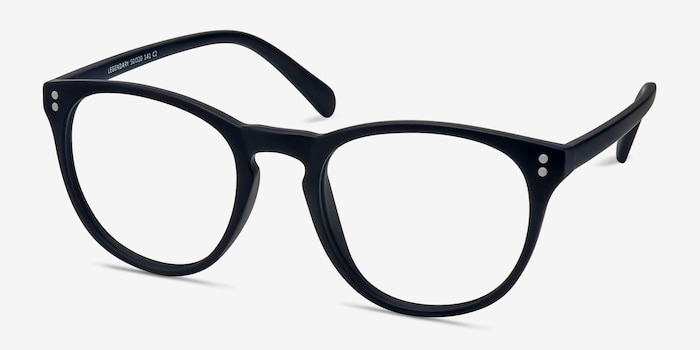Legendary Navy Plastic Eyeglass Frames from EyeBuyDirect, Angle View