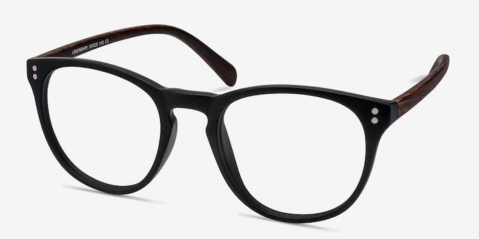 Legendary Black & Brown Plastic Eyeglass Frames from EyeBuyDirect, Angle View