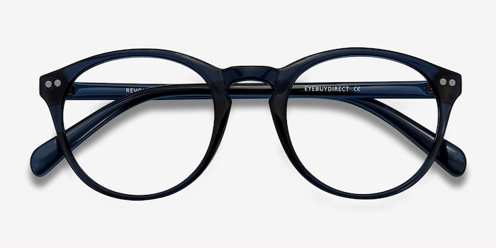 Revolution Navy Plastic Eyeglass Frames from EyeBuyDirect, Closed View
