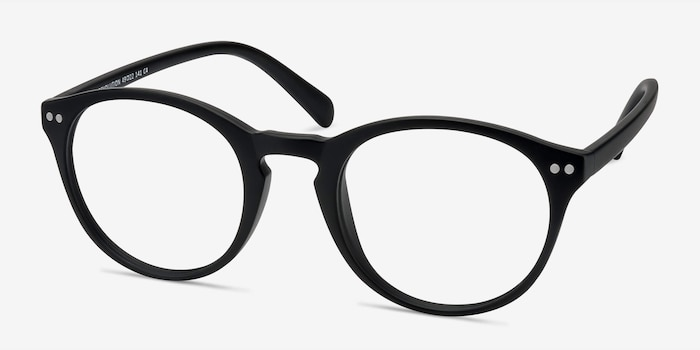 Revolution Matte Black Plastic Eyeglass Frames from EyeBuyDirect, Angle View