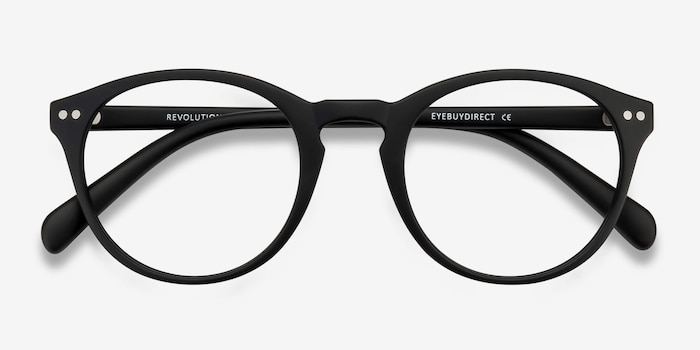Revolution Matte Black Plastic Eyeglass Frames from EyeBuyDirect, Closed View