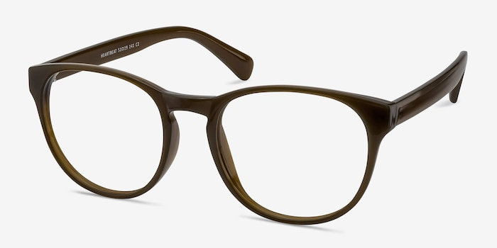 Heartbeat Dark Brown Plastic Eyeglass Frames from EyeBuyDirect, Angle View