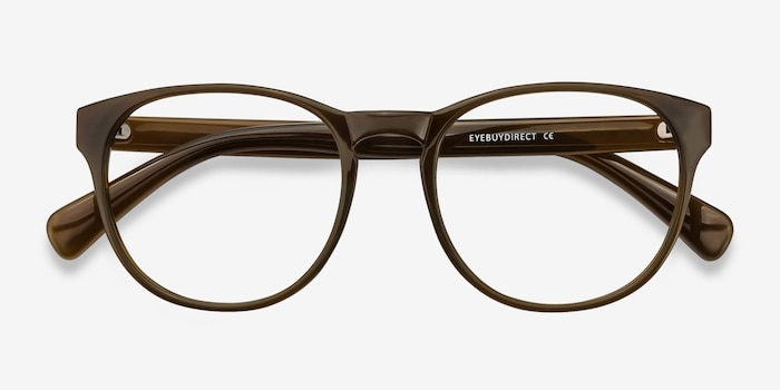 Heartbeat Dark Brown Plastic Eyeglass Frames from EyeBuyDirect, Closed View