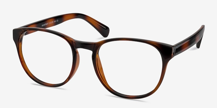 Heartbeat Brown Plastic Eyeglass Frames from EyeBuyDirect, Angle View