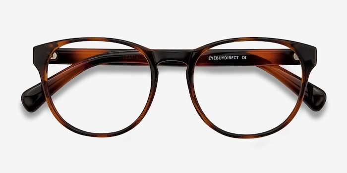 Heartbeat Brown Plastic Eyeglass Frames from EyeBuyDirect, Closed View