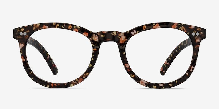 Solar Black Floral Plastic Eyeglass Frames from EyeBuyDirect, Front View