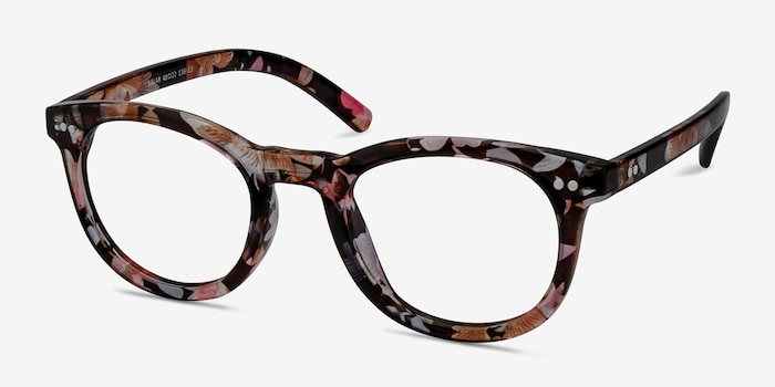 Solar Floral Plastic Eyeglass Frames from EyeBuyDirect, Angle View