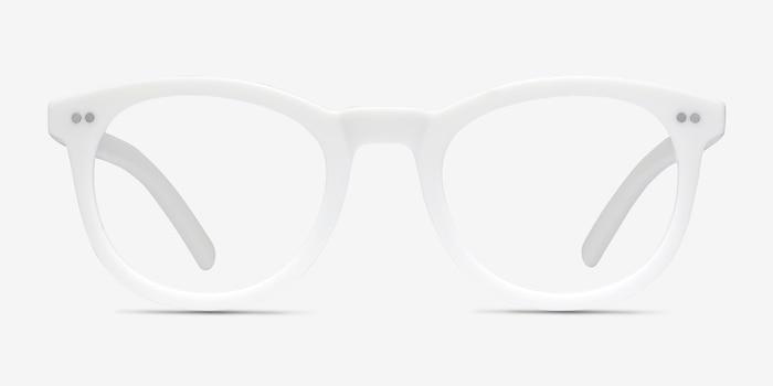 Solar Matte White Plastique Montures de Lunettes d'EyeBuyDirect, Vue de Face