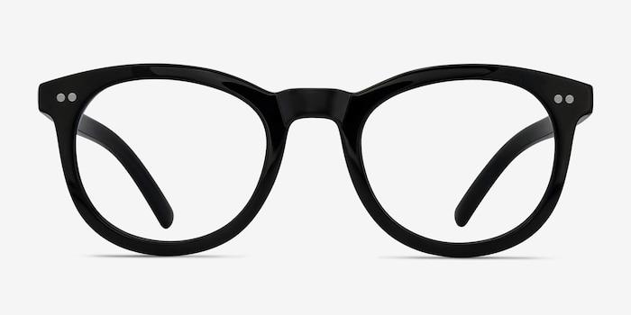 Solar Black Plastic Eyeglass Frames from EyeBuyDirect, Front View