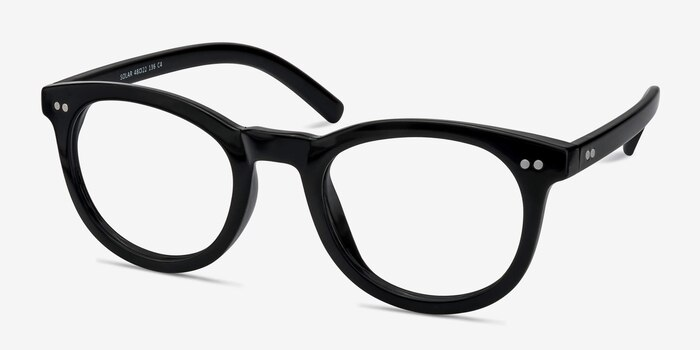 Solar Black Plastic Eyeglass Frames from EyeBuyDirect, Angle View