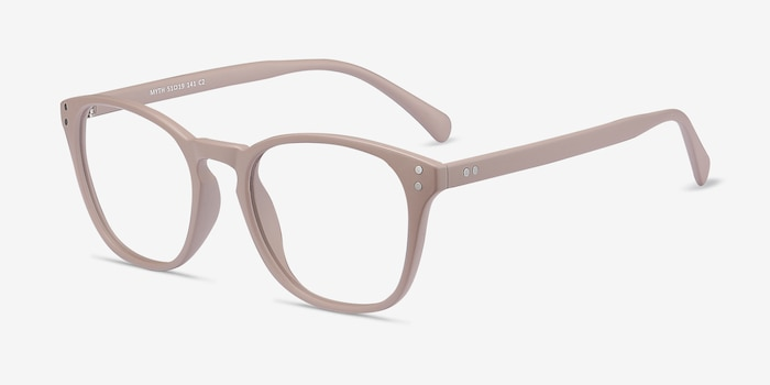 Myth Tan Plastic Eyeglass Frames from EyeBuyDirect, Angle View