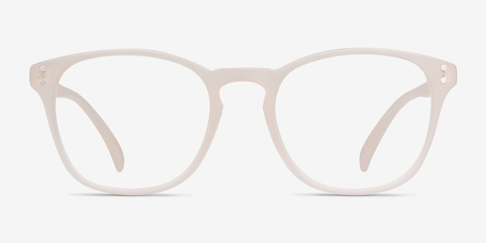 Myth Matte White Plastic Eyeglass Frames from EyeBuyDirect, Front View