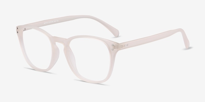 Myth Matte White Plastic Eyeglass Frames from EyeBuyDirect, Angle View