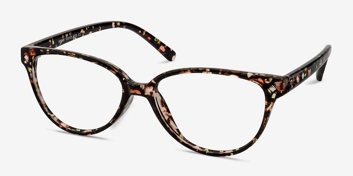 Dame Floral Plastic Eyeglass Frames from EyeBuyDirect, Angle View