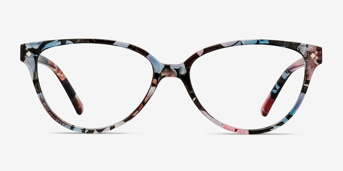 Dame Pink Floral Plastic Eyeglass Frames from EyeBuyDirect, Front View