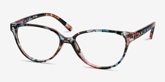 Dame Pink Floral Plastic Eyeglass Frames from EyeBuyDirect, Angle View