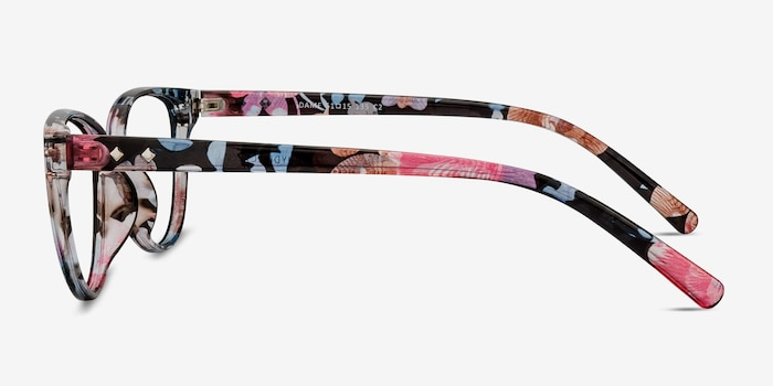 Dame Pink Floral Plastic Eyeglass Frames from EyeBuyDirect, Side View