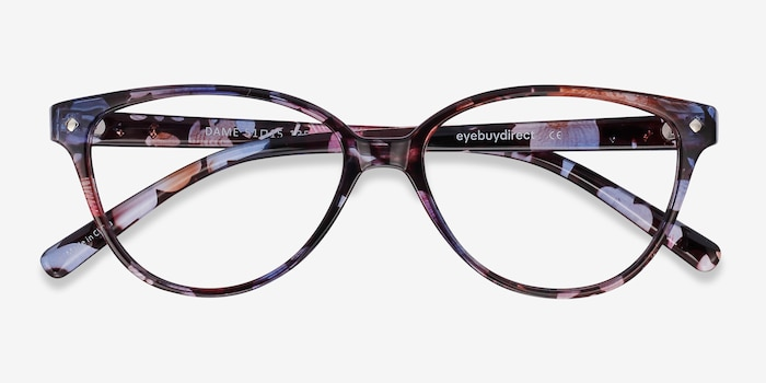 Dame Pink Floral Plastic Eyeglass Frames from EyeBuyDirect, Closed View