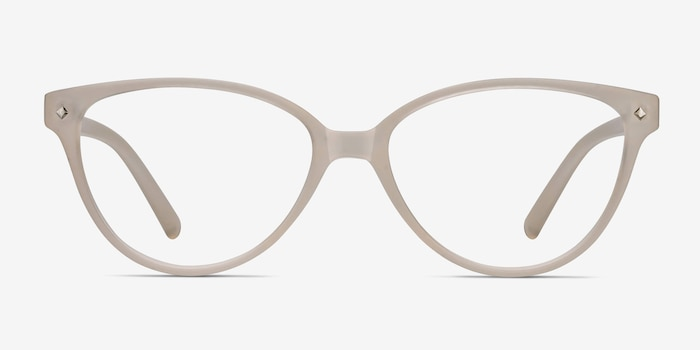 Dame Matte Clear Plastic Eyeglass Frames from EyeBuyDirect, Front View