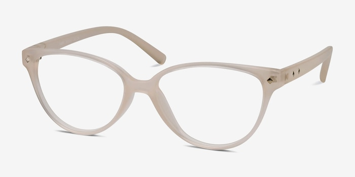 Dame Matte Clear Plastic Eyeglass Frames from EyeBuyDirect, Angle View