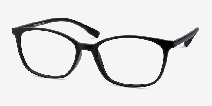 Glider Black Plastic Eyeglass Frames from EyeBuyDirect, Angle View