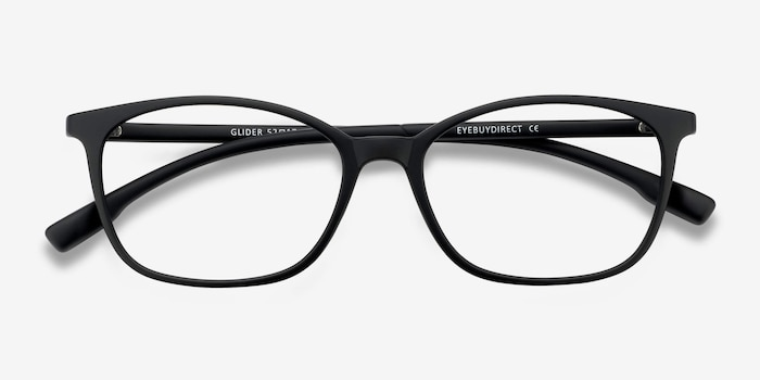 Glider Black Plastic Eyeglass Frames from EyeBuyDirect, Closed View
