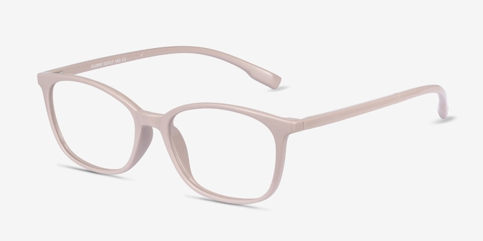 Glider Gray Plastic Eyeglass Frames from EyeBuyDirect, Angle View