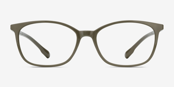 Glider Olive Green Plastic Eyeglass Frames from EyeBuyDirect, Front View