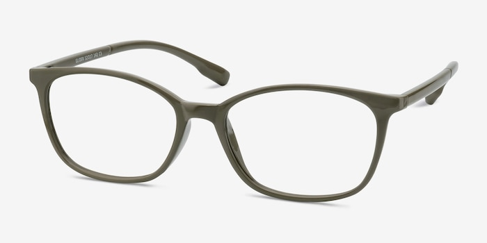 Glider Olive Green Plastic Eyeglass Frames from EyeBuyDirect, Angle View