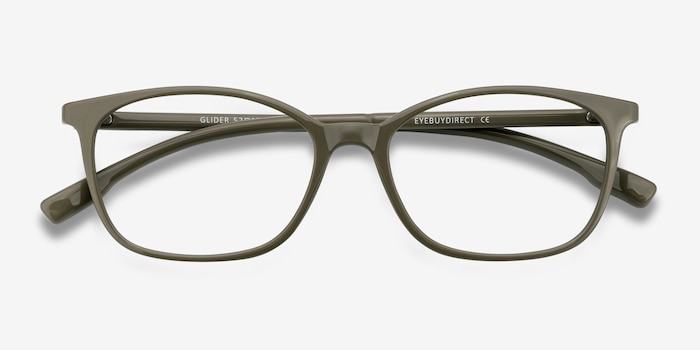 Glider Olive Green Plastic Eyeglass Frames from EyeBuyDirect, Closed View