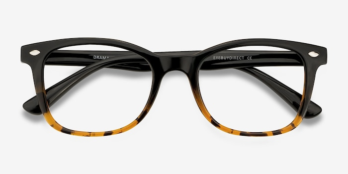 Drama Black Brown Plastic Eyeglass Frames from EyeBuyDirect, Closed View