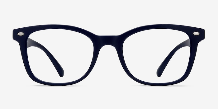 Drama Navy Plastic Eyeglass Frames from EyeBuyDirect, Front View
