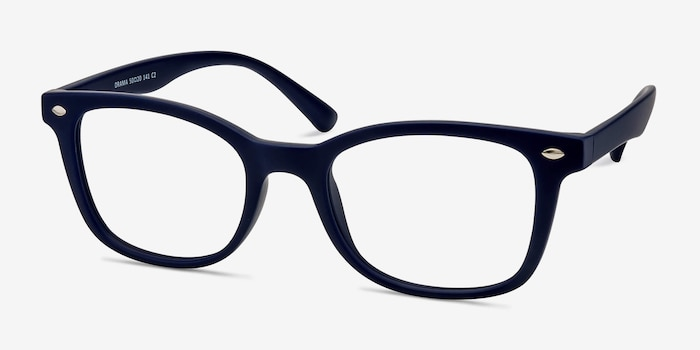 Drama Navy Plastic Eyeglass Frames from EyeBuyDirect, Angle View
