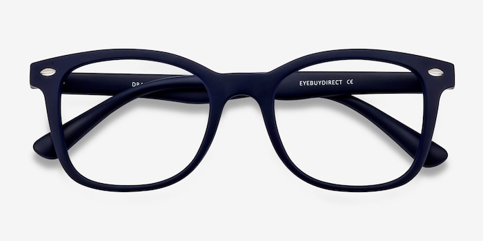 Drama Navy Plastic Eyeglass Frames from EyeBuyDirect, Closed View