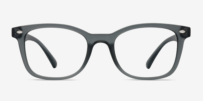 Drama Matte Gray Plastic Eyeglass Frames from EyeBuyDirect, Front View